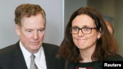 美國貿易代表萊特希澤和歐洲貿易高官在比利時。