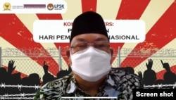 Komisioner Komnas HAM, Hairansyah Akhmad, dalam konferensi pers peringatan Hari Pembela HAM Nasional, Selasa 7 September 2021. (Anugrah Andriansyah).