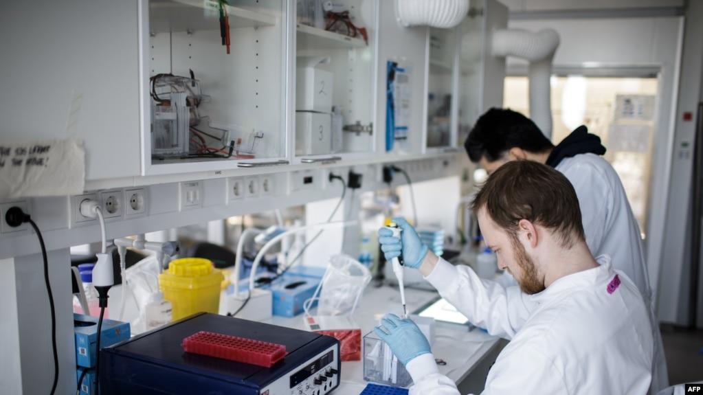 Các nhà nghiên cứu dồn nỗ lực để tìm vắc-xin chống COVID-19 tại Phòng thí nghiệm của Đại học Copenhagen ở Đan Mạch, ngày 23/3/2020. (Photo by Thibault Savary / AFP)