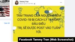 Một đăng tải trên trang Facebook cá nhân của Tammy Tran về việc cô bị cách ly để điều trị nhiễm virus corona.