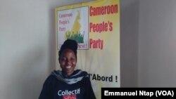Kah Walla, présidente de Cameroon People Party, qui réclame plutôt la réforme du système électoral au Cameroun, 22 mars 2017. (VOA/Emmanuel Ntap)