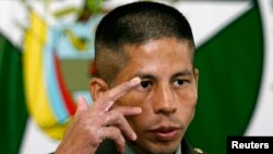 FILE - Colombian police officer John Frank Pinchao, who escaped after nine years of rebel captivity, attends a news conference in Bogota, May 22, 2007.