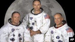 از چپ به راست: نيل آرمسترانگ، مايکل کولينز و ادوين آلدرين، تيم سفینه آپولو ۱۱