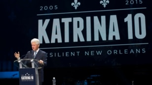 Former President Bill Clinton speaks at an event marking the 10-year anniversary of Hurricane Katrina in New Orleans, Aug. 29, 2015.