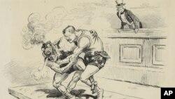纽约先驱报的漫画显示西奥多.罗斯福与代表铁路公司利益的选手摔跤