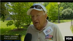 WW II Veteran Cewin Johnson was 19 when he lost his arm fighting in France.