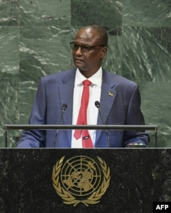 South Sudan's First Vice President Taban Deng Gai speaks during the General Debate of the 73rd session of the General Assembly at the United Nations in New York on Sept. 28, 2018.