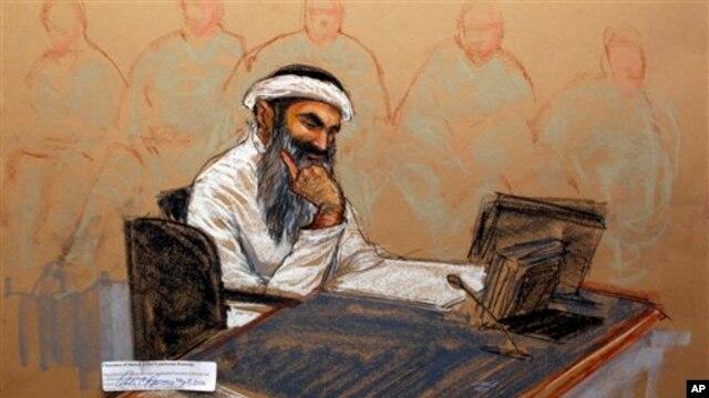 쿠바 관타나모 미군기지 재판소에 출두한 테러 사건 피의자 스케치. (자료사진)