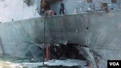 La explosión abrió un boquete de 10 metros de diámetro en el casco del navío.