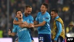 Les joueurs de Marseille exultent après leur qualification pour la finale de l'Europa League, Autriche, le 3 mai 2018