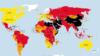ایران و چند کشور دیگر به خاطر پائین بودن آزادی رسانهها، در این نقشه به رنگ سیاه مشخص شدهاند. عکس از: www.rsf.org
