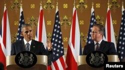 Obama i kameron na današnjoj konferenciji za novinare u Londonu