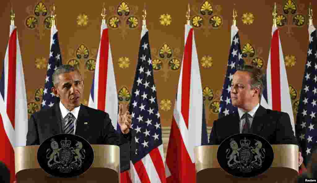 لندن میں برطانوی وزیراعظم ڈیوڈ کیمرون اور صدر اوباما نے ایک مشترکہ پریس کانفرنس سے بھی کی۔