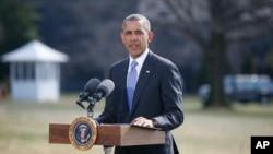 奧巴馬總統3月20日在白宮外南草坪發表關於烏克蘭的講話。