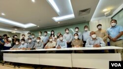 有48歷史、香港最大型教師工會教協,連日來受到中國官方傳媒及親建制媒體批評,8月10日教協召開記者會宣佈解散。(美國之音 湯惠芸拍攝)