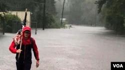 El Centro Cívico de Port Arhtur, en Texas, se inundó después que la tormenta tropical Harvey tocara tierra por segunda vez en el estado. El centro era usado como refugio para evacuados.