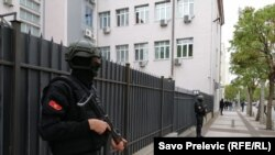 Montenegro -- Police in front of the court ahead of the verdict for attempting a state coup in Montenegro on October 16th in 2016, Podgorica, May 9, 2019.