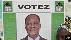 Poster of Ivory Coast opposition leader Alassane Ouattara, 25 Nov 2010