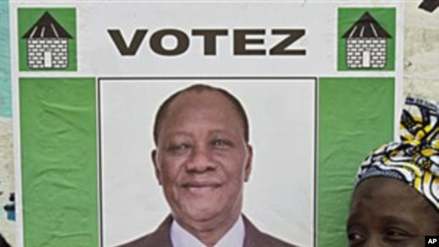 Poster of Ivory Coast opposition leader Alassane Ouattara, 25 Nov 2010