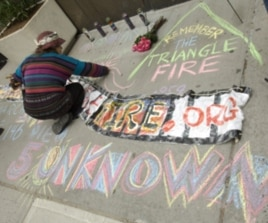 The Chalk Project volunteers go to buildings where Triangle fire victims once lived, memorializing to them on the sidewalks.