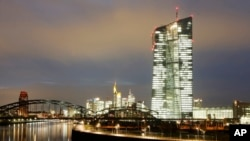 FILE - The new headquarters of the European Central Bank in Frankfurt, Germany, Nov.17, 2014.