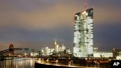 位于德国弗兰克福的欧洲中央银行的新总部大楼。