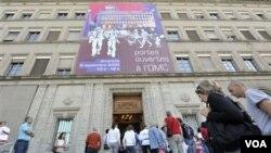 Kantor pusat Organisai Perdagangan Dunia (WTO) di Geneva, Swiss (Foto: dok). Rusia dipastikan akan memperoleh status keanggotaan WTO akhir tahun ini .
