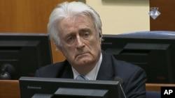 Radovan Karadzic saat menghadiri sidang pada Mahkamah Kriminal Internasional PBB bagi bekas Yugoslavia (ICTY) di Den Haag, Kamis (24/3).