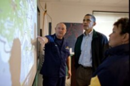 US Coast Guard Commandant Admiral Thad Allen and EPA Administrator Lisa Jackson, brief President Barack Obama about the situation along the Gulf Coast following the BP oil spill, at the Coast Guard Venice Center in Louisiana.