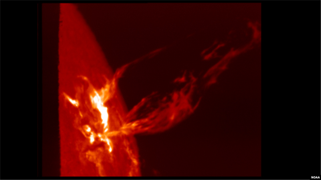 In a Coronal Mass Ejection (CME) solar material streaks out through the interplanetary medium, impacting any planet or spacecraft in its path. They are sometimes associated with flares, but usually occur independently. (Photo: NOAA Space Weather Prediction Center)