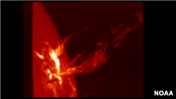 In a Coronal Mass Ejection (CME) solar material streaks out through the interplanetary medium, impacting any planet or spacecraft in its path. (NOAA)