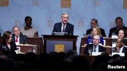 Le président de la Réserve fédérale, Jerome Powell, lors du déjeuner du Club Economique de New York, à Manhattan, le 28 novembre 2018.