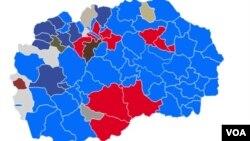 Mapa makedonskih opština i prelimirnarni rezultati izbora.