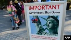 2013年10月1日纽约自由女神像关闭的布告