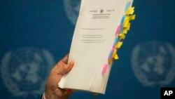 유엔 북한인권 조사위원회의가 지난 17일 스위스 제네바에서 최종보고서를 발표하고 있다.