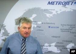 الکساندر اسمیرنوف، معاون شرکت هوایی متروجت روسیه روز دوشنبه در کنفرانس خبری در مسکو با خبرنگاران صحبت کرد