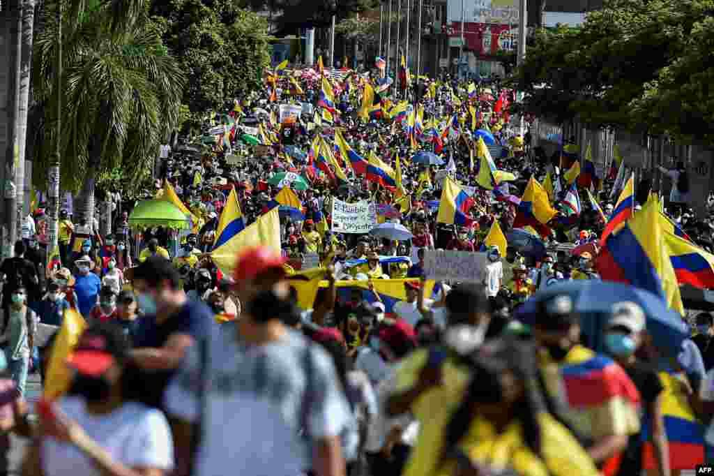콜롬비아 칼리에서 반정부 시위가 계속되고 있다.