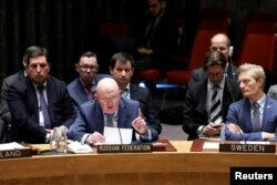 Russian Ambassador to the United Nations Vassily Nebenzia speaks during a United Nations Security Council meeting, New York, April 18, 2018.