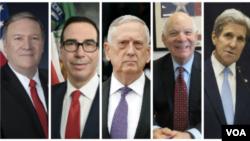 از راست: جان کری وزیر خارجه سابق، بن کاردن سناتور دموکرات، جیم متیس وزیر سابق دفاع، استیون منوشن وزیر خزانه داری و مایک پمپئو وزیر خارجه ایالات متحده.