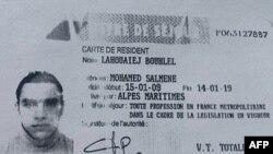 La copie du permis de séjour de Mohamed Lahouaiej-Bouhlel, l'homme qui a écrasé avec son camion une foule célébrant la Journée Bastille à Nice le 14 Juillet, image obtenue par l'AFP 15 5uillet 2016. / AFP PHOTO / POLICE FRANÇAIS SOURCE