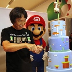 Nintendo game programmer Shigeru Miyamoto celebrates the 25th anniversary of the Super Mario Brothers at an event in New York in November