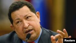 El mandatario venezolano, Hugo Chávez, durante una rueda de prensa en Caracas.
