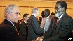 參加和談的南蘇丹政府代表團成員與西方觀察員在埃塞俄比亞首都的一家酒店會面。(2013年1月4日)