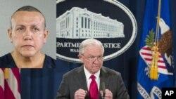 Генпрокурор США Джефф Сешнс и подозреваемый в отправке посылок с бомбами Цезарь Сайок
