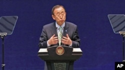 UN Secretary-General Ban Ki-moon speaks at the opening of the Jakarta International Defense Dialogue in Jakarta, Indonesia, March 21, 2012.