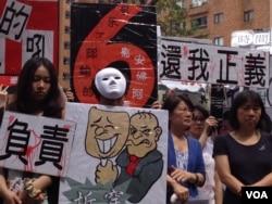 拿着各种标语的抗议者(美国之音莉雅拍摄)