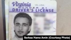 Licencia de conducir de un estadounidense identificado como Mohamed Jamal Khweis, acusado de ser miembro del grupo Estado Islámico, quien se ha entregado a las fuerzas pershmerga en el norte de Irak.