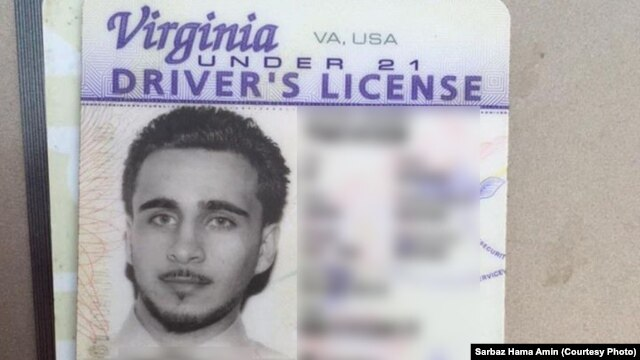 A driver's license shows an American identified as Mohamed Jamal Khweis, a member of the Islamic State group, who is being detained by Kurdish Peshmerga forces in northern Iraq.