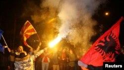 Pristalice SDSM-a nakon izbora u Skoplju (REUTERS/Ognen Teofilovski)