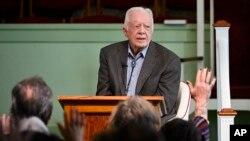 L'ancien président américain Jimmy Carter, lors d'un événement, le 3 novembre 2019.